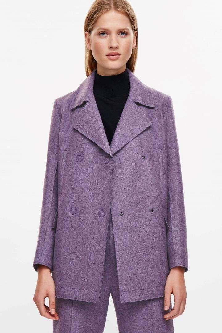 COS image 2 of Raw-cut wool coat in Violet