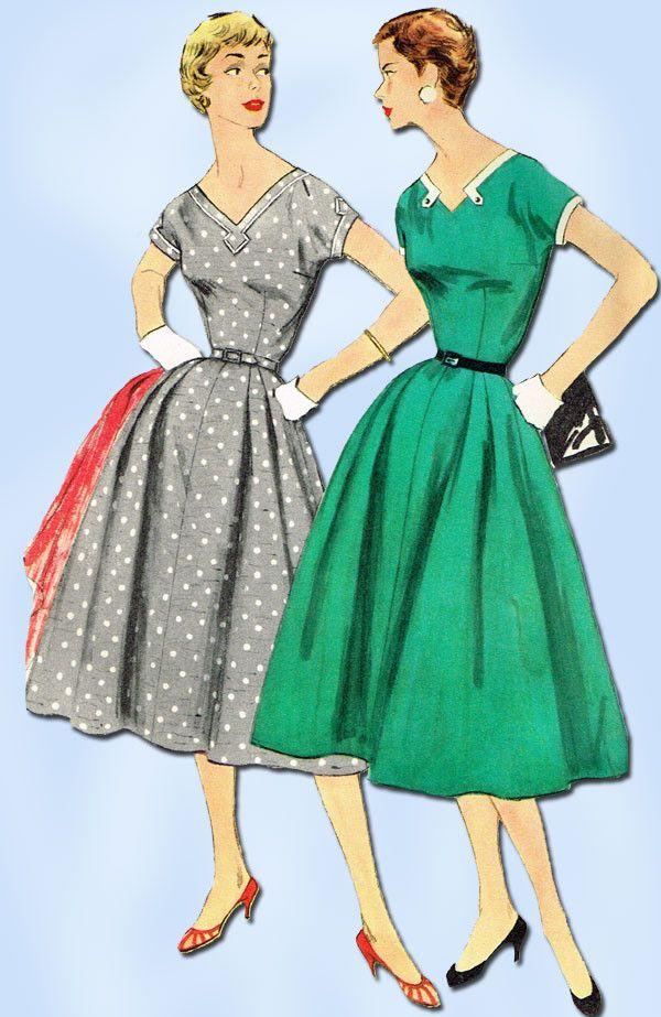 1950s Vintage Misses Dress Uncut 1955 Simplicity Sewing Pattern 1135 Sz 16 34B