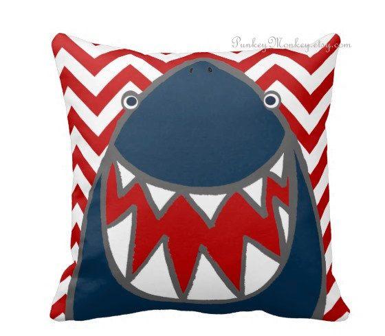 Striped or chevron Shark pillow toss pillow beach by PunkeyMonkey