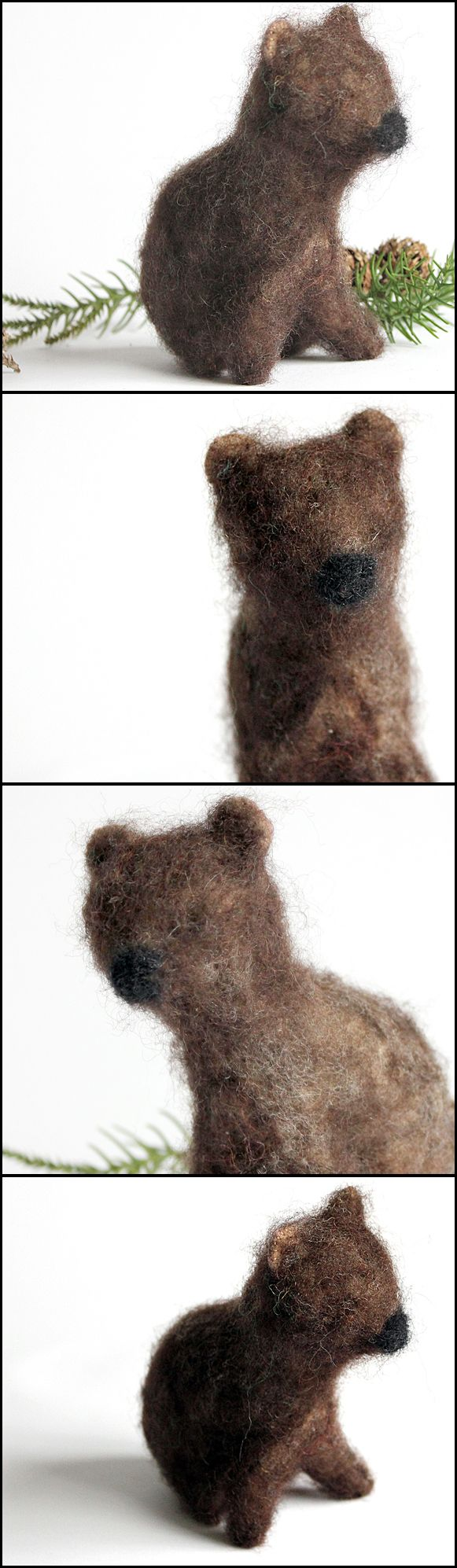 Needle felted brown bear cub … who's been eating my porridge?  - Waldorf toys