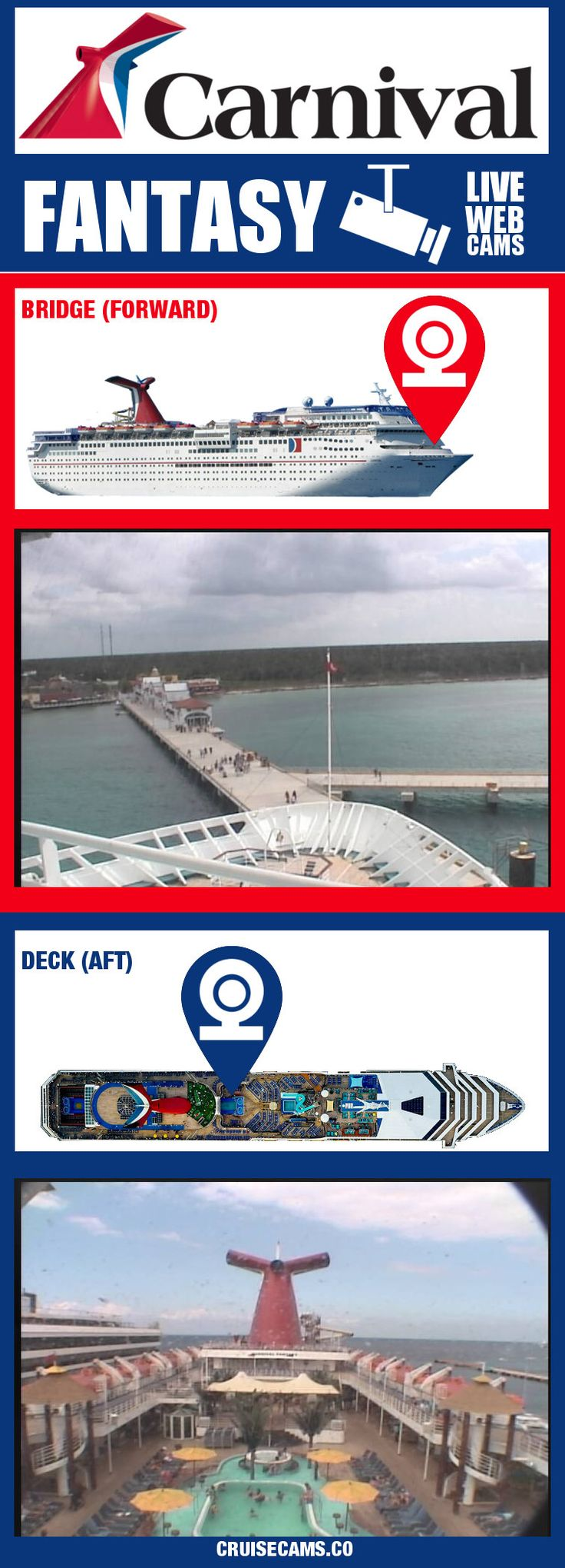 Carnival Fantasy Cruise Cam - Live Ship Webcam. Click for latest update and all live cruise cameras!