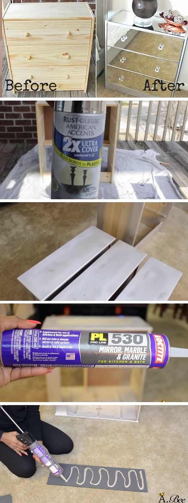 Check out the tutorial: #DIY Mirrored Nightstand #crafts #homedecor