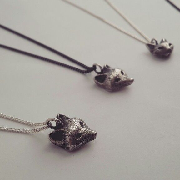 New Fox & Cat Pendants at www.folkloriikka.com #fox #cat #pendant #necklace #sterlingsilver #silver #cute
