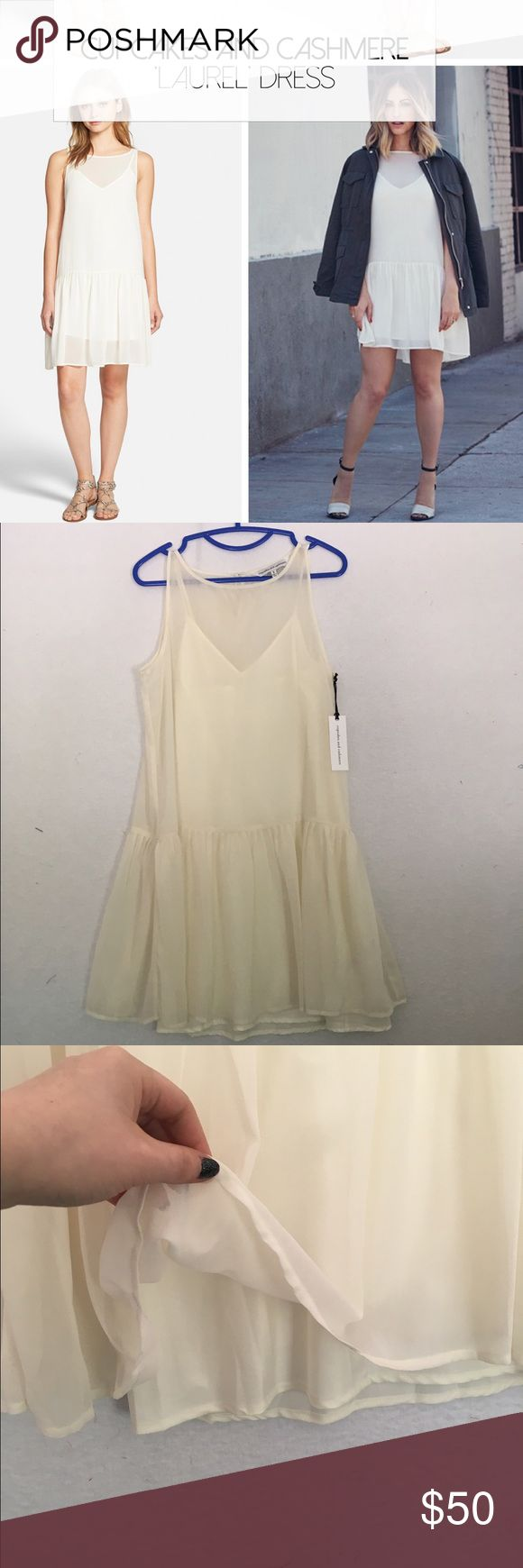 NWT Cupcakes & Cashmere Nordstrom White Dress White / Cream NWT Dropwaist chiffon dress. Perfect condition! From Nordstrom but sold out. Sheer but has a liner. Nordstrom Dresses Strapless
