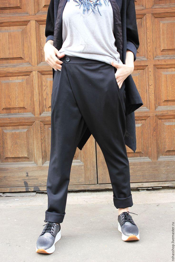 Купить Брюки Feeling - черный, брюки, брюки женские, брюки с мотней, стильные…