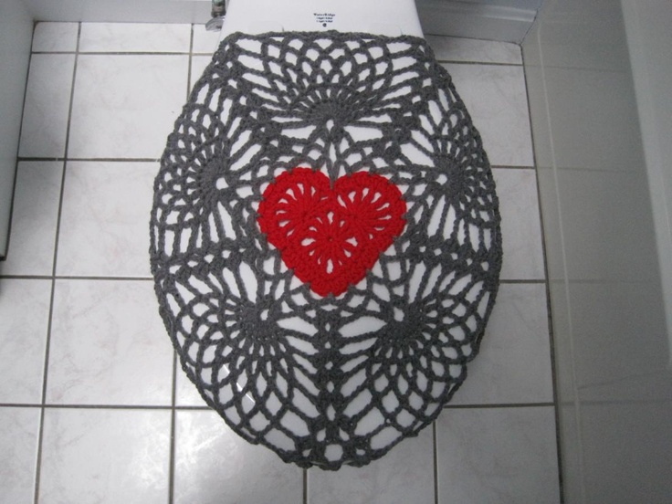 Crochet Pattern   Valentine Toilet Seat Cover For Both Standard And  Elongated Toilet Seats (6VC2013 Part 69