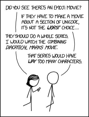 xkcd: Emoji Movie  Personally, I'd be into a Unicode arrows movie. Think of all the directions it could go in!