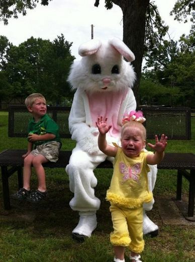 """Milane and Brandt were terrified of The Easter Bunny...They have """"Acute Adult Bunniephobia""""  and go to therapy once a week."""