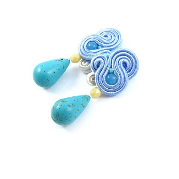Small dangle soutache earrings blue creamy by byPiLLowDesign, $44.00