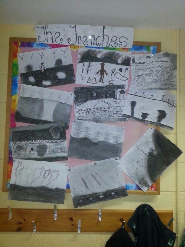 6th class ww1 charcoal art