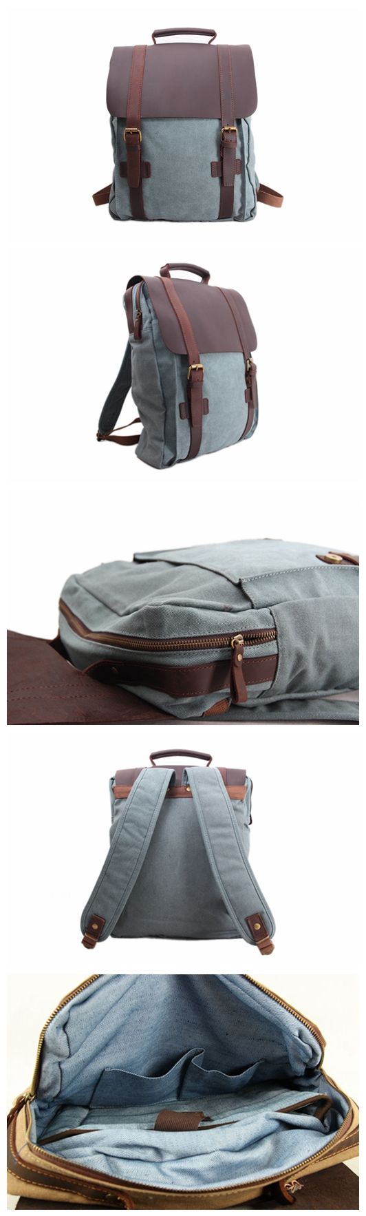 HANDMADE CANVAS LEATHER BACKPACK, WAXED CANVAS BACKPACK SCHOOL BACKPACK