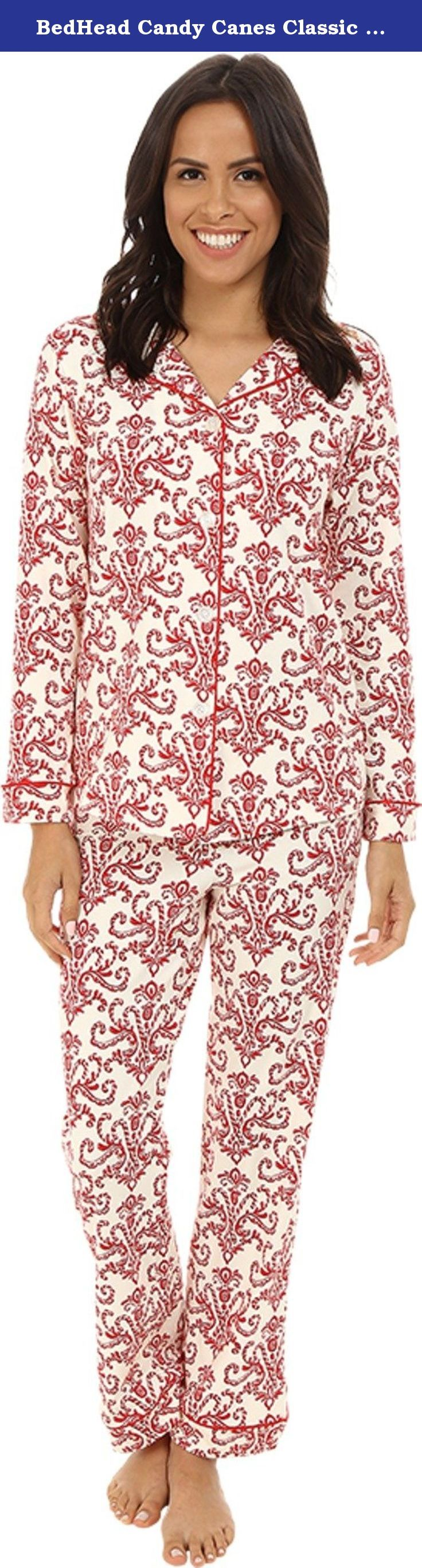 BedHead Candy Canes Classic Stretch Made in USA PJ Set (XS, Red). Gloriously soft - like your favorite T-shirt - with the added benefit of lounge-friendly stretch. The sweet holiday print elevates nightwear to a new level of comfort and style. And they're fairly made in Los Angeles, which makes them both glamorous and a great way to keep Americans on the job.