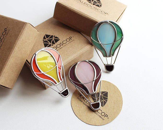 Broche de cristal globo de colores, broche globo, globo, joyería, adornos brillantes, manchado vidrio, comprar broche, regalo inusual, cooperación