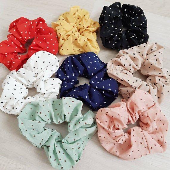 Pastel Yellow Polka Dot Cute Scrunchie for Summer