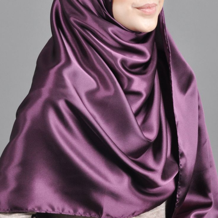 Basic Plain Wide Satin Silk Shawl in Purple (Free Hijab Pin!) - BAJUFOUNDRY
