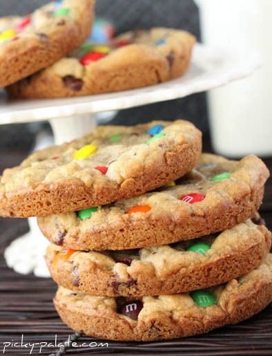The best XXL M&M Chocolate Chip Cookies!  Giant and perfectly round!