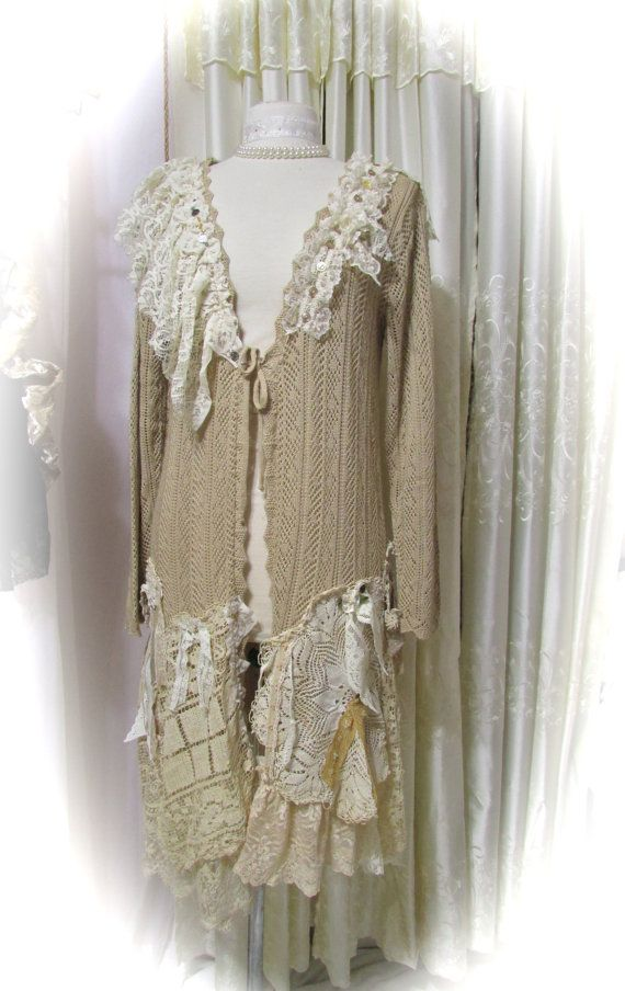 Doily Sweater coat, shabby n chic doilies tattered laces refashioned altered couture clothing