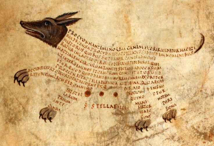constellation Anticanis (Canis Minor, lesser dog)Ciceros Aratea with Hyginuss Astronomica, Reims(?) ca. 820-850. British Library, Harley 647, fol. 13r