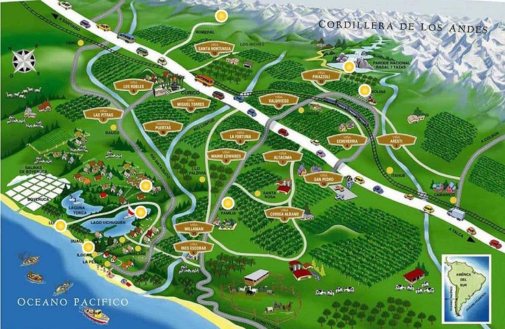 Map of wine region Curico - Chile