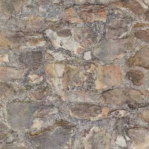 Red and Grey Faux Stone Wall Wallpaper