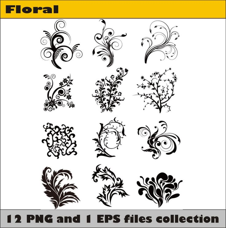 Floral Flowers Vector Vintage Silhouettes Page Decoration Digital Download PNG Instant Transparent Background Border Clipart Clip Art by SlavGraphics on Etsy