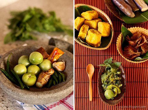 Sambal Cibiuk~ Green Chili Sambal. Best served with fried salty fish, tofu and steamed eggplant. yum.