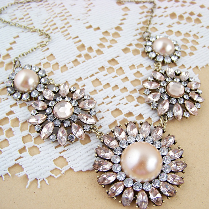 vintage antique style jewelery rhinestone faux pearl choker necklace VN66 | 12.9
