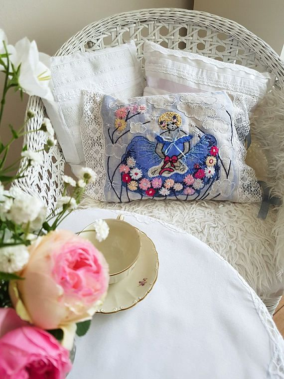 Painted hand embroidered fairy pillow cover Kids room doll