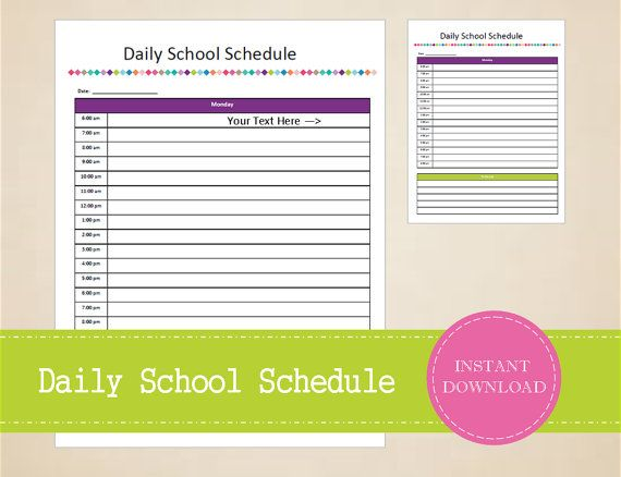 Daily School Schedule  Student Planner  by MBucherConsulting