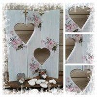 Decoratie drie luikjes gemaakt, in de stijl Brocante. Hout gezaagd, hart eruit gezaagd, in de white wash en bewerkt met servetten.