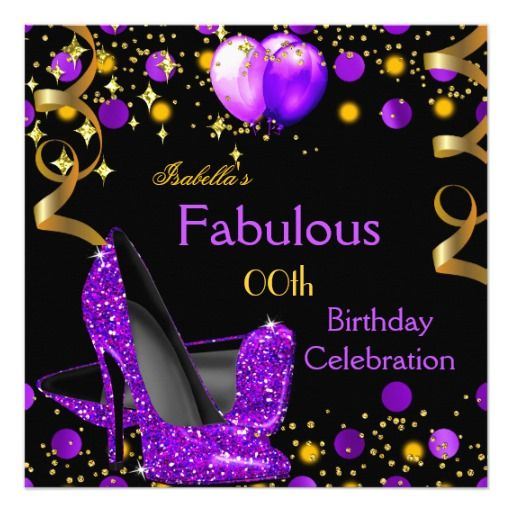 446 best balloon birthday invitations images on pinterest birthday purple high heels gold balloons birthday party invitation stopboris Image collections