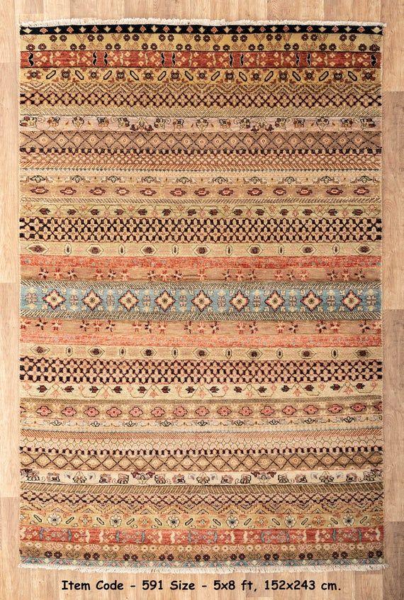 5x8 Rug Modern Rug Handmade Wool Rug 591 150x243 Cms In 2020