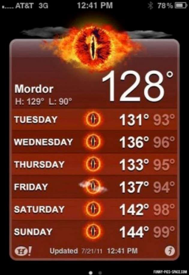What's even funnier is these are only a few degrees above average temperatures for Phoenix.  Funny Lord of the Rings (22 Pics) | Vitamin-Ha
