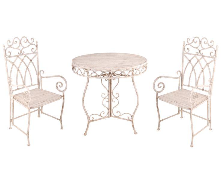 Trädgårdsbord och stolar, TRÄ & JÄRN, runt No56