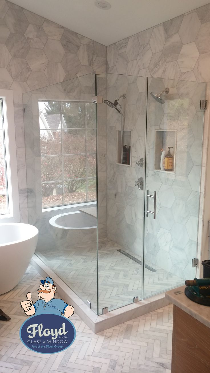 3/8 Frameless Shower. Brushed Nickel Clamps with Ladder Pull Handle. Build your own shower: http://showers.floydglass.com