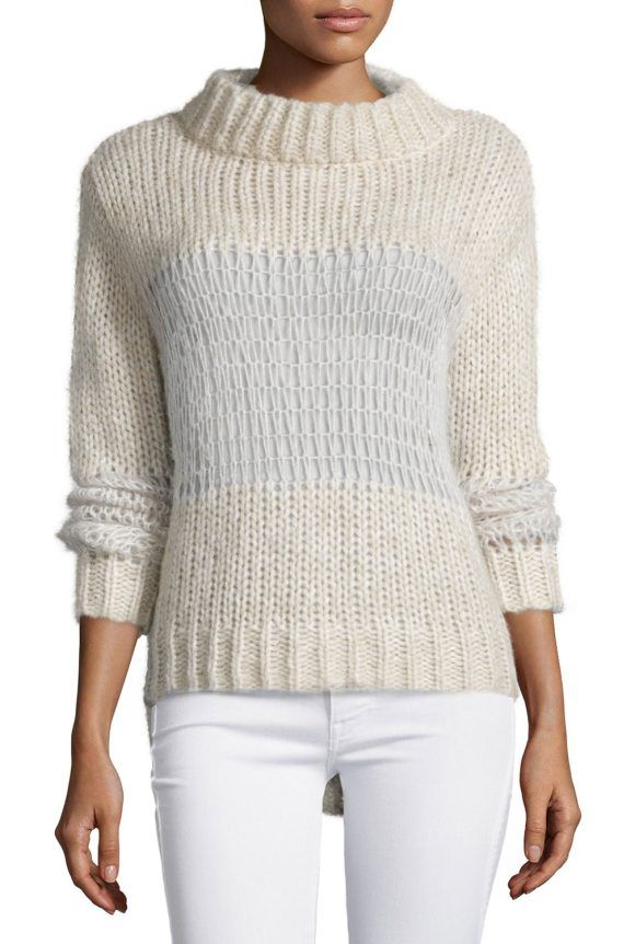"On SALE at 65.00% OFF! Cobweb Funnel-Neck Sweater by Banjo And Matilda. Banjo and Matilda ""Cobweb"" knit sweater with semisheer openwork panels. Funnel neckline. Long sleeves. Ribbed trim at..."
