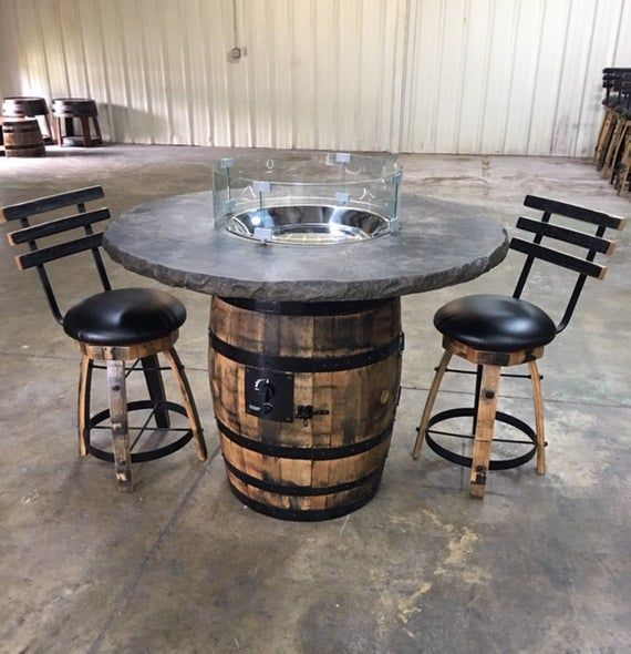 This Firepit Has A Concrete Top With Stainless Steel Burner Sitting On Authentic Whiskey Barrel Wine Barrel Table Whiskey Barrel Table Wine Barrel Furniture