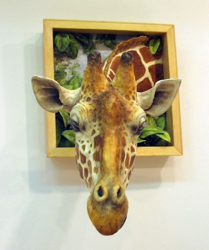 "UNEXPECTED VISITOR by Lori Hough 2012 Papier Mache 38"" x 36"" x 42"" Epic Corporation, Verona, Wisconsin"