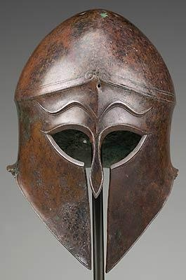 Corinthian Helmet, bronze, Ancient Greece. The Mycenaeans made weapons and armor out of bronze to protect themselves in battles