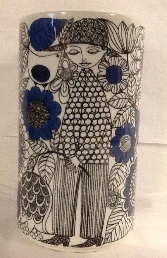 "Arabia Finland Vase Pastoraali 8.5"" Esteri Tomula Mid Century 1960s Blue Black"