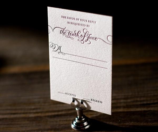 Letterpress Wedding Invitations   Loretta Formal Design   Bella Figura Letterpress