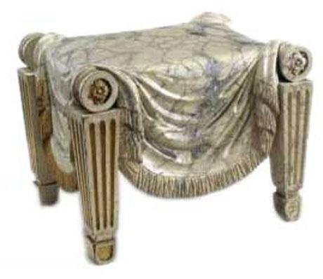 Attractive Charles Heathcote Tatham, Beechwood Roman Style Stool, Painted To Imitate  Marble, English, C.