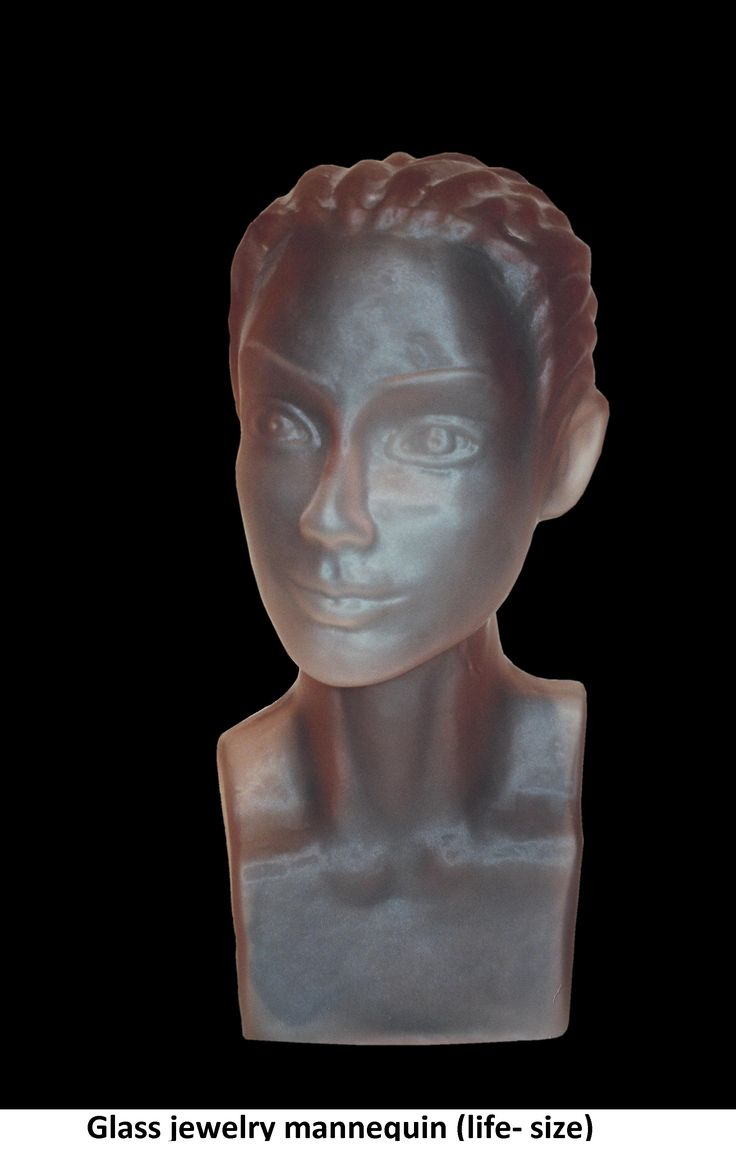 Glass sculpture portrait of a beautiful girl for jewelry mannequin