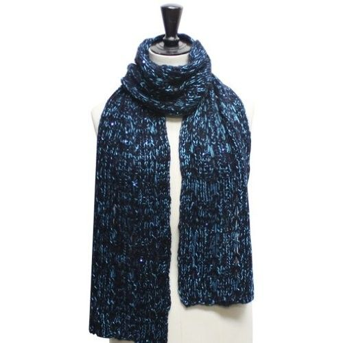Blue Two Tone Casual Knit Long Winter Sequin Scarf