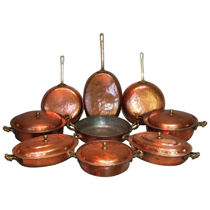 Handmade Mediterranean Copper Cookware Hammered 14 pcs. Set