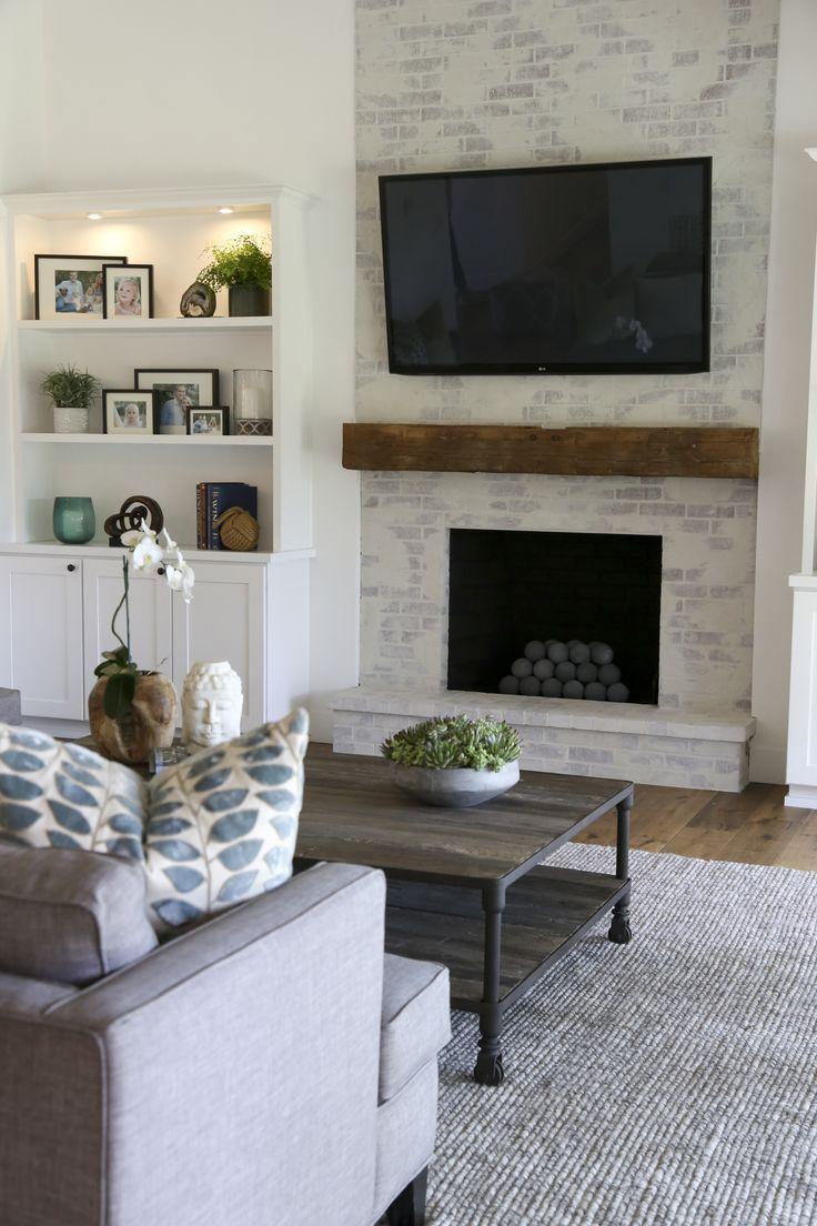 Contemporary Farmhouse Brick Fireplace ssjonesdesigngroup