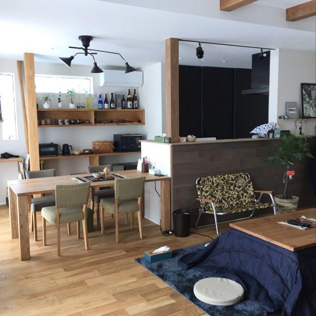 rueitaさんの、ナチュラル,照明,100均,観葉植物,北欧,クラッシュゲート,コタツ,こたつ,こたつのある部屋,部屋全体,のお部屋写真
