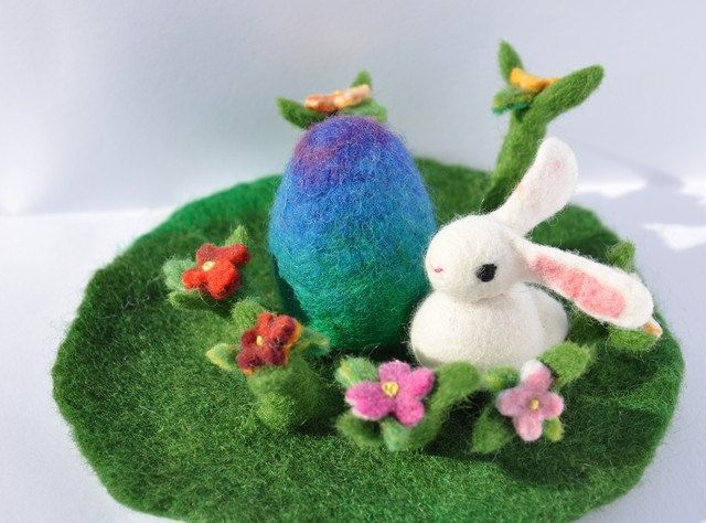 Easter Decoration Egg Flower Garden Waldorf Play Mat Spring Bunny Season Nature Table Play Mat Playscape Landscape Handmade Wet Felted by FeltedbyBetti on Etsy