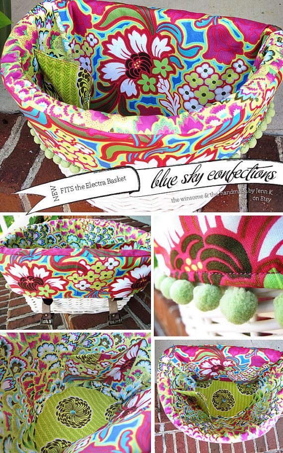 Electra Bike Basket Liner  Bright Pink & by BlueSkyConfections, $54.00