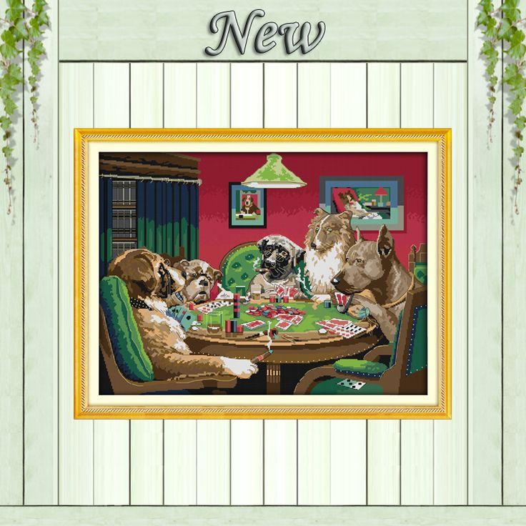 Собак игры прекрасный мультфильм картины подсчитывали напечатаны на холсте DMC 14CT 11CT Китайский Вышивки Крестом Рукоделие Наборы для Вышивания